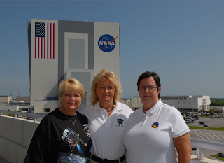 From left, sisters Sharon Lane, Teresa Strobush and Karon Buchner have a combined 106 years of service at Kennedy Space Center.