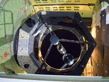 The German-built 2.5-meter infrared telescope is nestled in its cavity in the SOFIA airborne observatory