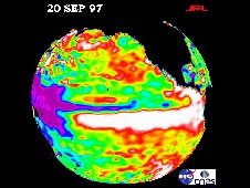 The 1997-1998 El Nino, seen here in this Sept. 20, 1997 image from the NASA/French Space Agency Topex/Poseidon satellite, was one of the most powerful El Ninos of the past 100 years