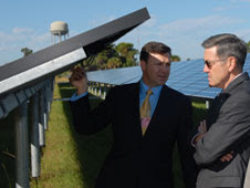 Cabana and Silagy discuss the innovations incorporated into the solar farm at Kennedy