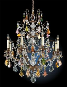 this schonbek chandelier is a little less formal because of the antiqued metal finish and the colored crystal very interesting and fun - Schonbek Chandelier
