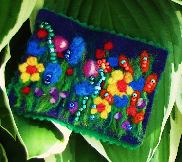 Needle felted and beaded ACEO