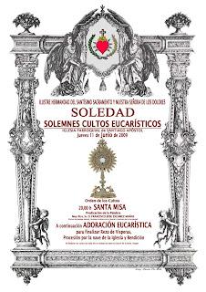El jueves cultos extraordinarios en la Soledad