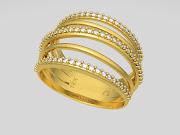 Anel de ouro amarelo com brilhantes