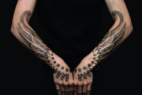mechanical wings tattoo