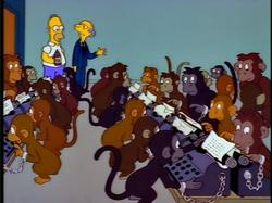 Montgomery Burns 1000 monkeys writing on 1000 typing machines