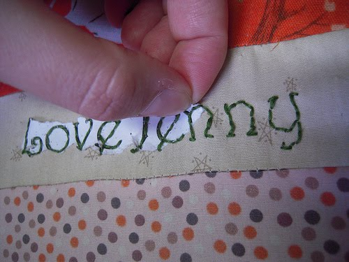 Jenny the artist how to embroider words onto fabric