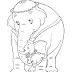 Desenho - Mãmãe elefante e seu Bêbê - Colorir
