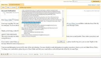 screenshot - Further information from the email full header about the source IP address.