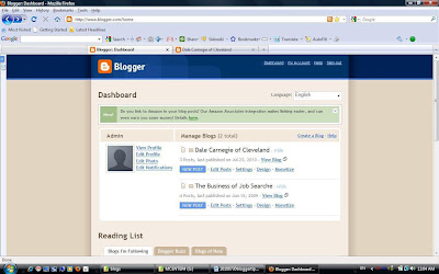 The Blogger Dashboard.