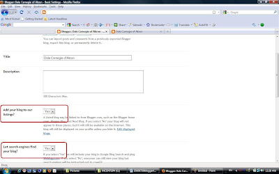 The settings page where you can insure your blog is crawled by the search engines.