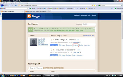 Screenshot The Blogger dashboard.