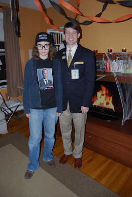 (Leslieu0027s awesome battery operated fan powered costume hides her 2 days away from her due date belly quite well). Kenneth and Frank from 30 Rock  sc 1 st  the salad days & the salad days: Halloween Party