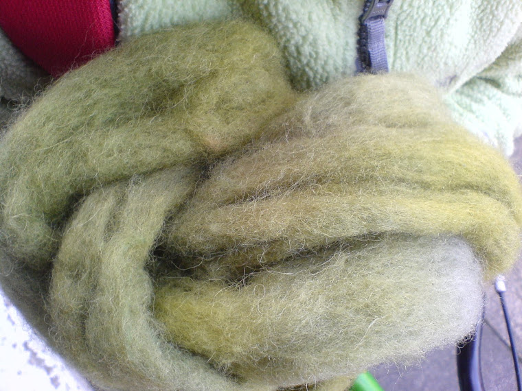 mossy green dyed wool