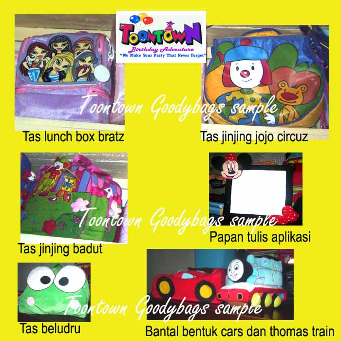 bantal thomas train, tas lunch box bratz, papan tulis dll