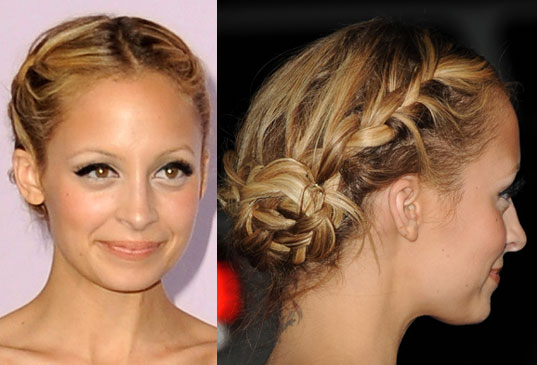 jessica alba updo braids. raided bun updo. raiding