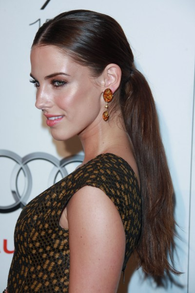 brunette locks for this sleek, sophisticated ponytail hairstyle.
