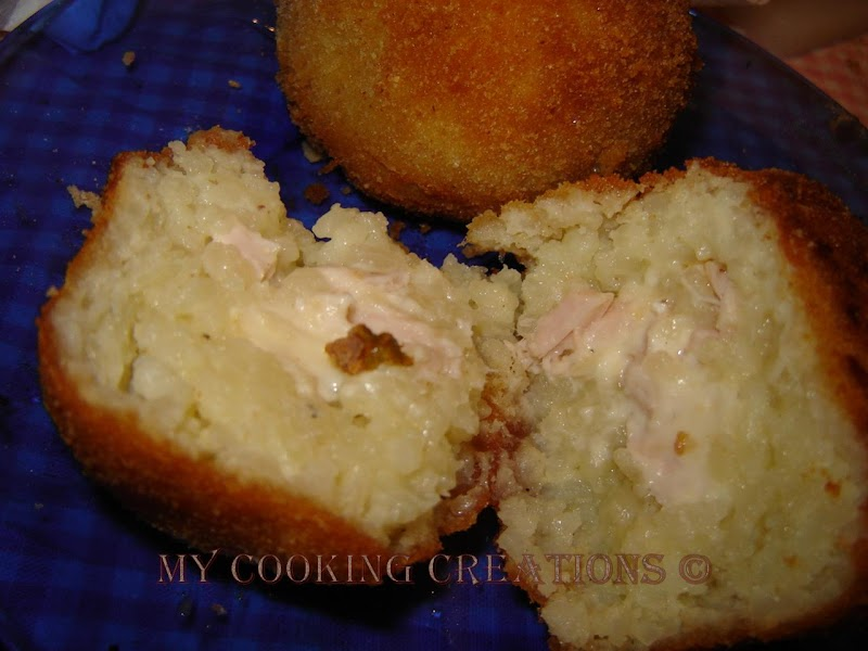 Пълнени оризови топки * Arancini con prosciutto cotto e scamorza