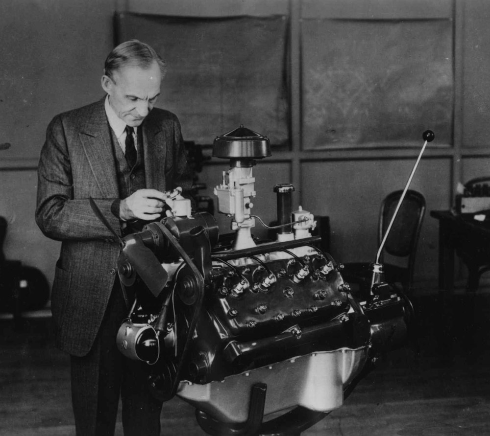 Henry Ford With V Engine