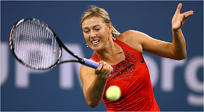 sharapova in a red sequened Nike dress