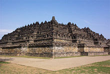 The ninth-century Buddhist monument Borobudur built by the Sailendra near the 'nail of Java'.