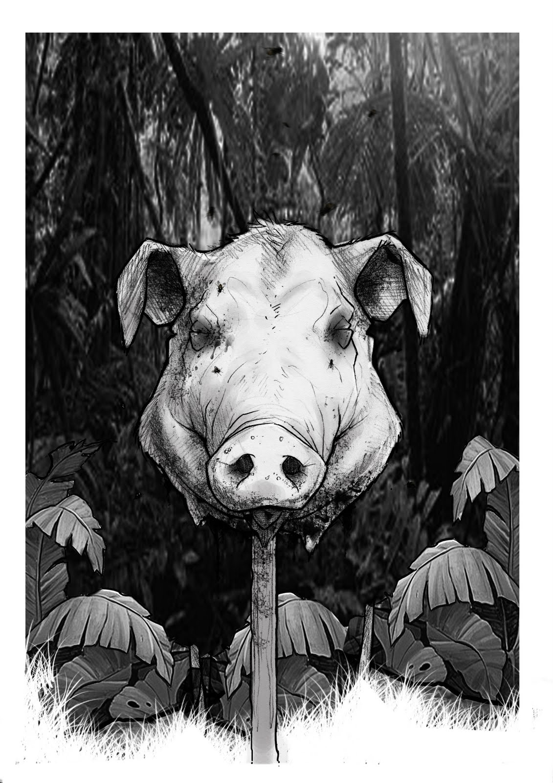 Cartoon pig head on a stick - photo#9