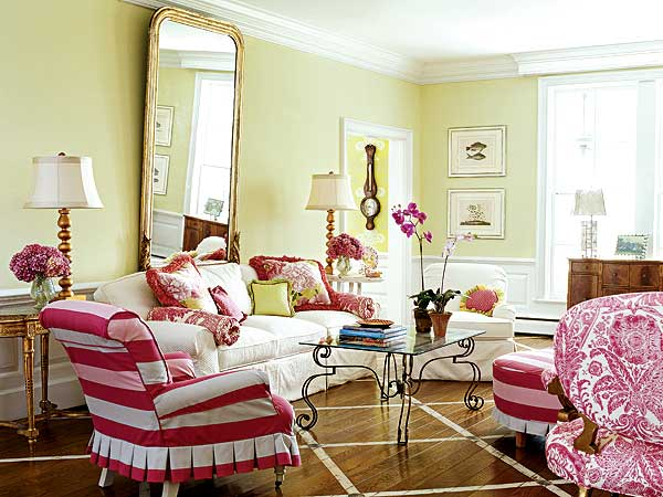 Pink green rooms b b for Pink and green living room ideas