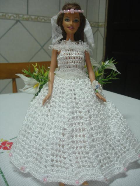 Vestido para Barbie - Noiva em Crochê