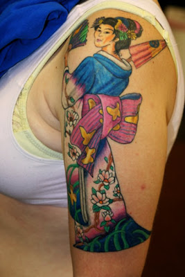 Geisha Umbrela  Tattoo Designs