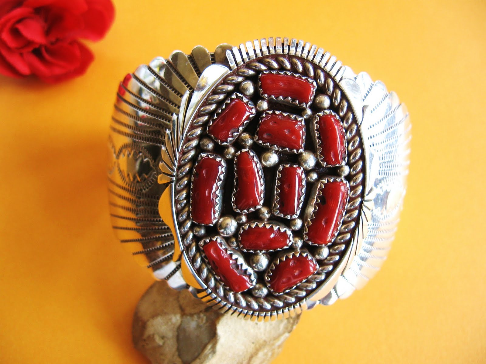 Southwest Sky Jewelry Vintage Sterling Silver Coral