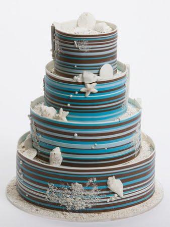 Three tier powder blue round wedding cake with brown trimming