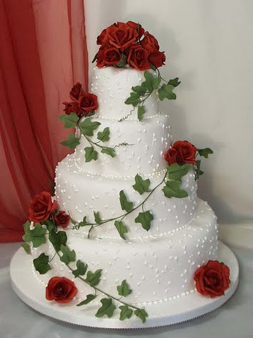 Cake Ideas With Red Roses : Wedding Cakes Pictures: Four Tier Round Red Roses Wedding Cake