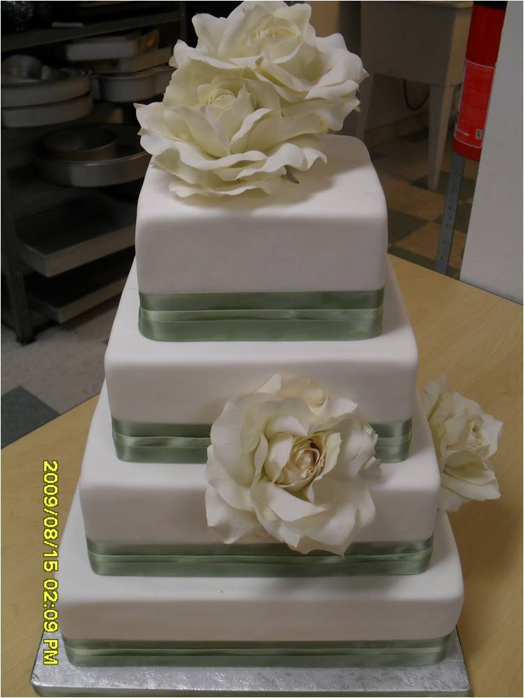 Simple Square Wedding Cake with Ribbon