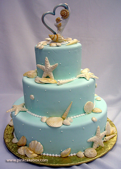 wedding cakes pictures blue wedding cakes with sea shell pictures. Black Bedroom Furniture Sets. Home Design Ideas