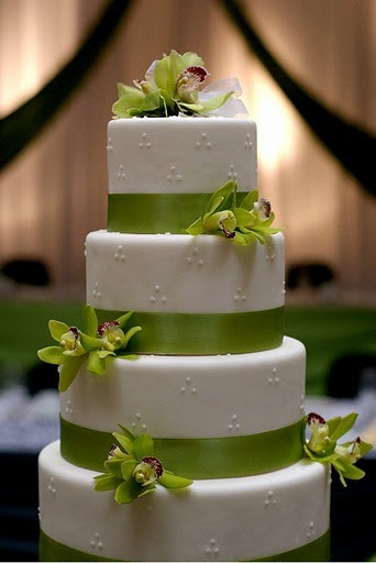 Swiss dots green orchids and ribbon wedding cake