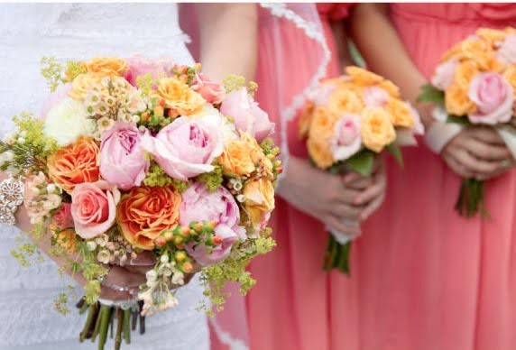 Wedding Bouquets Pink And Orange : Bouquet bridal orange and pink roses bouquets