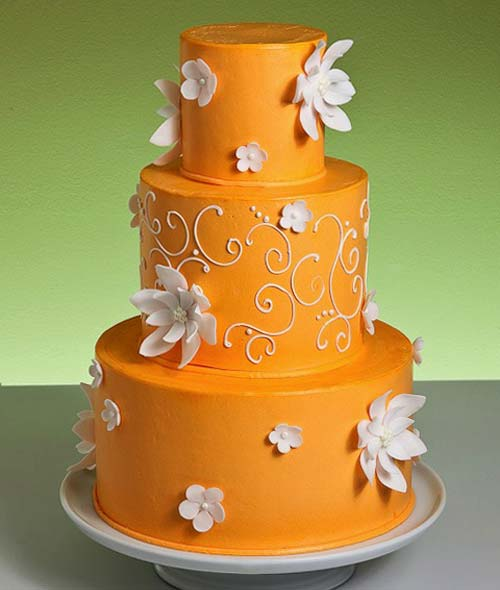 Orange and Aqua Wedding Cake http://www.cakesforwedding.net/2010/10/orange-wedding-cake-ideas.html