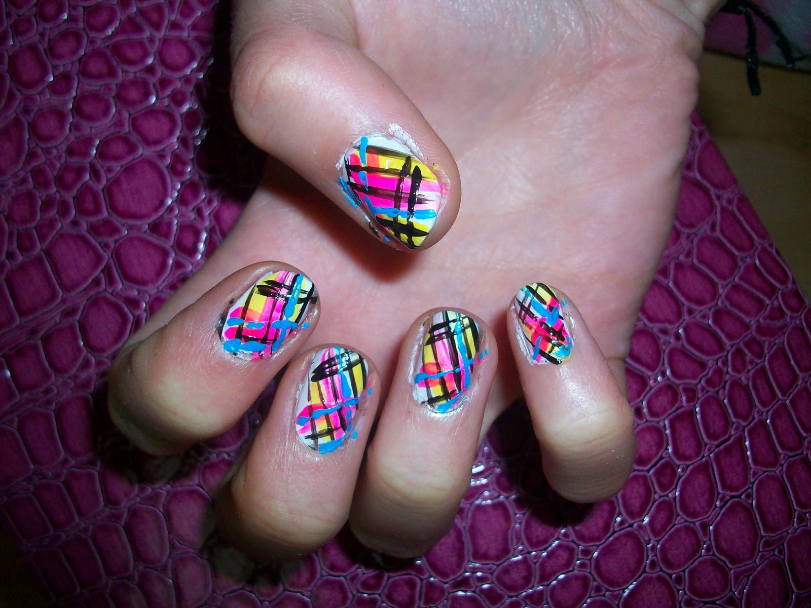Bright Color Nail Design http://miss-rvh.blogspot.com/2011/01/striped-firework-nails.html