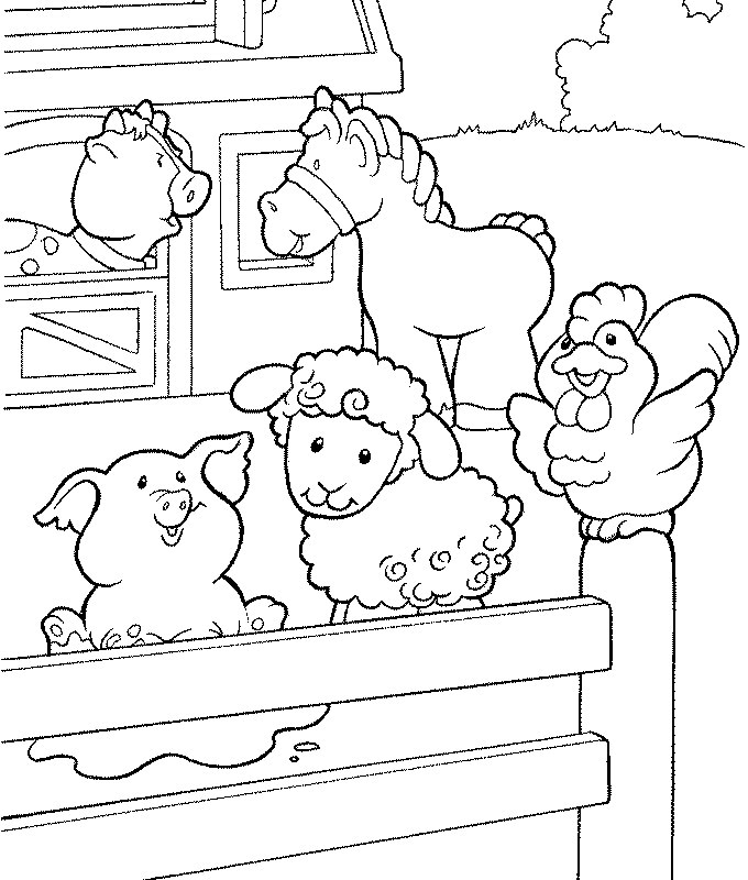 Sandra fazendo arte bichinhos na fazenda para colorir for Little people coloring pages