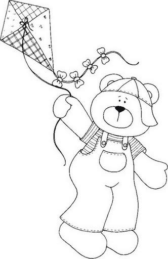 Ursinhos - riscos para pintar em tecido