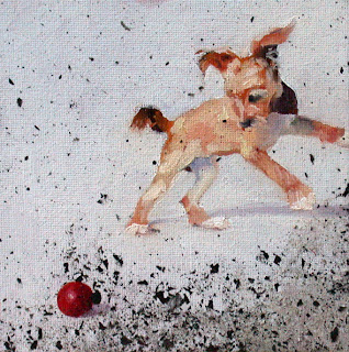 Red Ball with Ashes by Liza Hirst