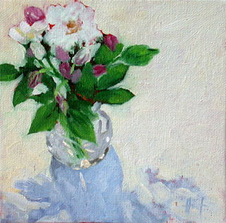 Roses in Cristal Vase by Liza Hirst