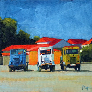 Three Old Peugeots by Liza Hirst