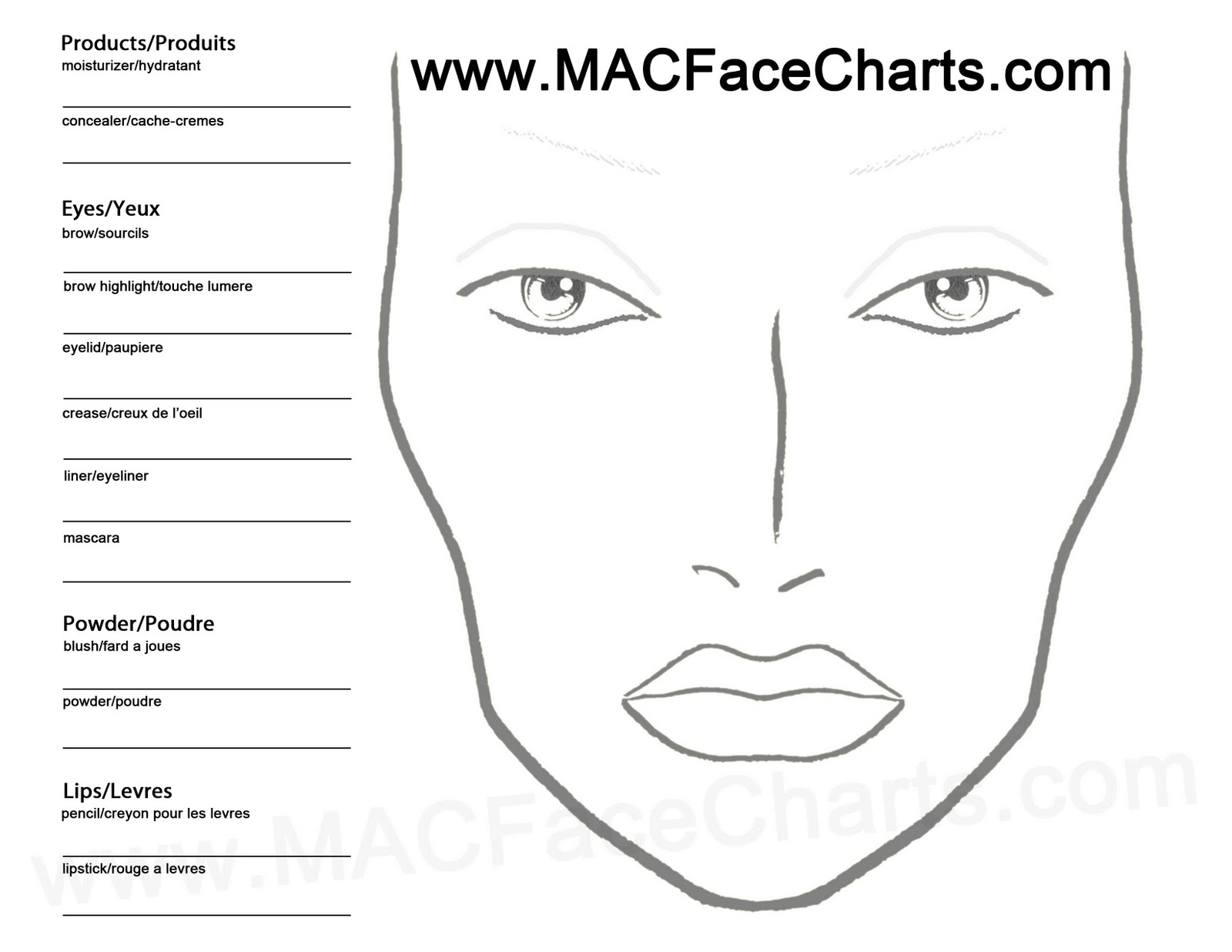 Empty Face Chart Sephora Blank face charts online!