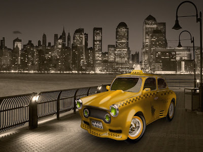 3D taxi cab Desktop free Wallpaper