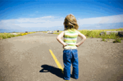 little girl pondering the road ahead