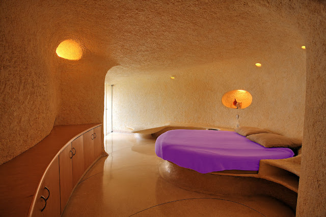 Even The Furniture Is Built Into Architecture For An Organic Free Flowing Space Semi Underground Home Consists Of A Series Twisting Tunnels