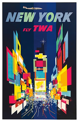new york fly twa travel poster modern design by. Black Bedroom Furniture Sets. Home Design Ideas