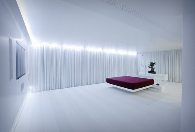 minimal white bedroom