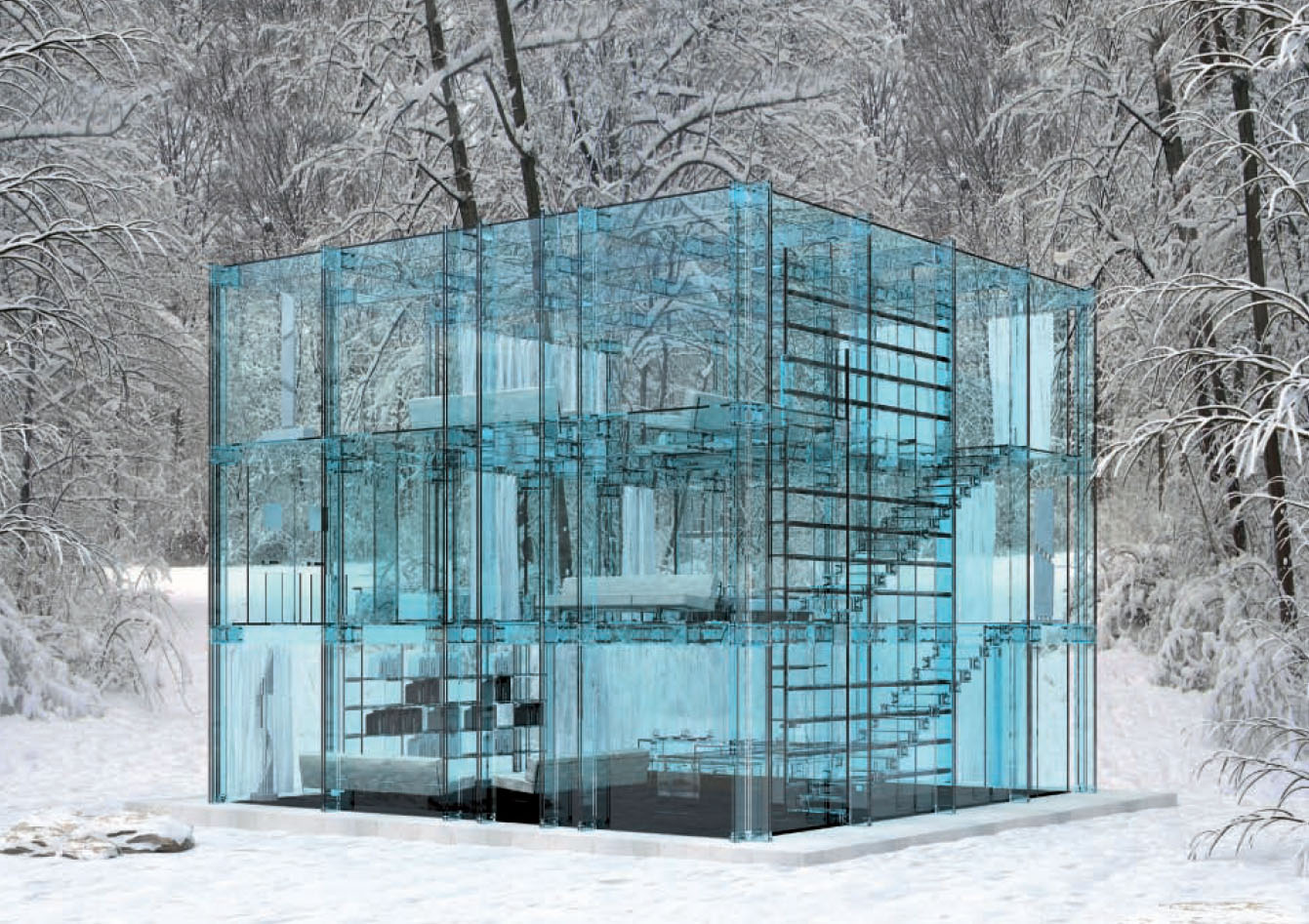 ultra minimal glass house modern design by